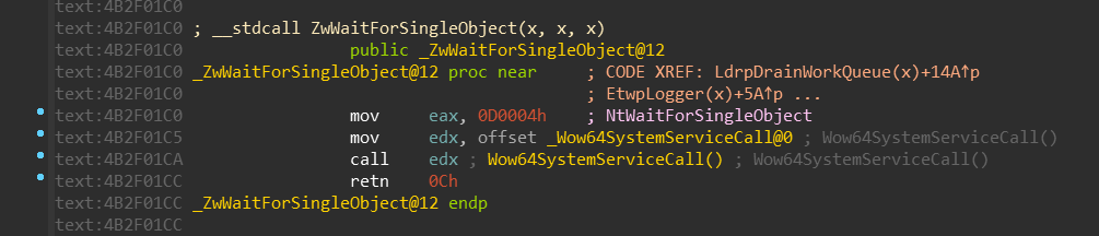 NtWaitForSingleObject (x64)